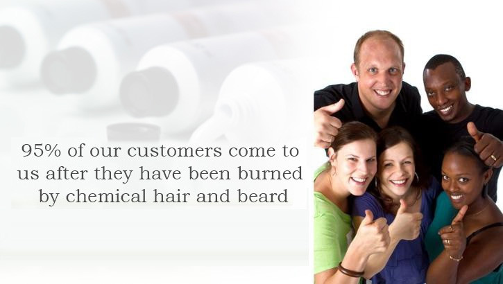 95% of our customers come to us after they have been burned by chemical hair and beard dye