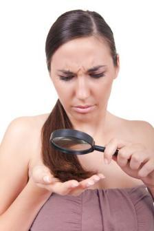 Magnifying glass look at hair