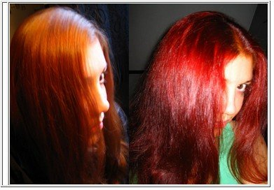 Super red hair over natural red using henna hair dye