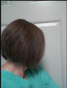 Barbara after using brown henna hair dye
